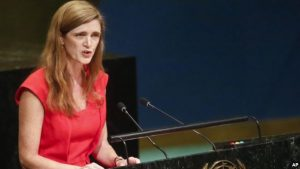 FILE - U.S. Ambassador to the U.N. Samantha Power speaks during a meeting of the U.N. General Assembly at U.N. headquarters, Oct. 26, 2016.