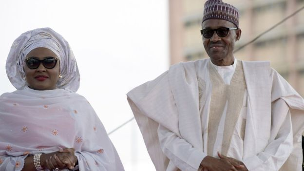 Aisha Buhari (L) said she might not vote for her husband again