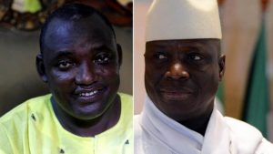 Yahya Jammeh, right, lost the election to Adama Barrow, left