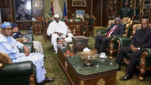 West African leaders met President Jammeh (C) in Banjul last week