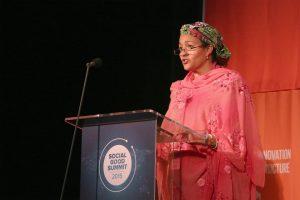 Amina Mohammed, then Special Advisor to the U.N. Secretary-General, speaks at the 2015 Social Good Summit, New York City, September 27, 2015. Mohammed has been appointed deputy to incoming U.N. Secretary-General António Guterres. MIREYA ACIERTO/GETTY
