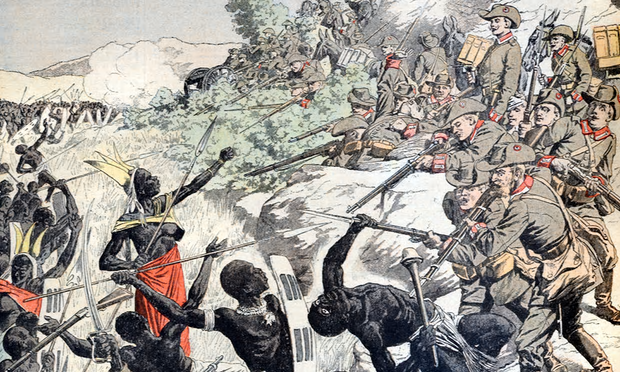 A painting depicts German soldiers shooting Herero people in 1904. Photograph: Chris Hellier/Corbis via Getty Images