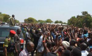 Photo: State House/Daily News President John Magufuli greets Nyamikoma residents in Busega District on his way to Simiyu Region to open the newly-constructed 71-kilometre Bariadi-Lamadi Road.