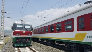 Locomotives for the new Ethiopia to Djibouti electric railway system sit outside a train station on the outskirts of Addis Ababa. Sept. 24, 2016,