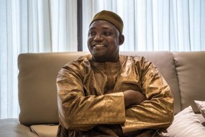 President Adama Barrow of Gambia during an interview in Dakar, Senegal, on Sunday. SERGEY PONOMAREV FOR THE NEW YORK TIMES