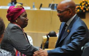 Mr Zuma publicly congratulated his ex-wife after she was sworn in as the head of the African Union Commission