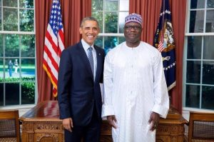 Omar Faye at the White House with US President Barack Obama
