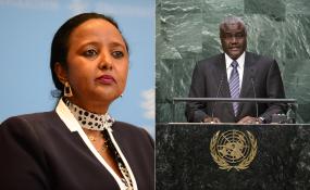 Photo: allafrica.com Kenya's Foreign Affairs Cabinet Secretary Amina Mohamed (left) and Chad's Moussa Faki Mahamat.