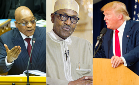 Photo: allafrica.com From left, Presidents Jacob Zuma, Muhammadu Buhari and Donald Trump.