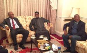 President Buhari, Senate President, Senator Saraki, Speaker Dogara and Senate Leader, Ahmed Lawal at Abuja House in London.