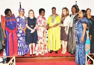 Courtesy call on Uganda's First Lady: From left to right: Hon. Sarah Opendi, Minister of State for Health, Uganda; Hon. Joyce Lay, Member of Parliament, Kenya; Dr. Belen Garijo, CEO, Merck Healthcare; H.E. Madame Brigitte Touadera, First Lady Central African Republic; H.E. Madam Janet Museveni, First Lady, Republic of Uganda; Dr. Rasha Kelej, Chief Social Officer, Merck Healthcare; Hon. Virginie Baiokua, Minister of Social Affairs and National Reconciliation, Central African Republic; Hon. Zuliatu Cooper, Deputy Minister of Health and Sanitation, Sierra Leone and Lina Ekomo, Central African Republic