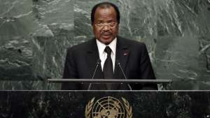 Cameroon's President Paul Biya addresses the 71st session of the United Nations General Assembly, in New York, Sept. 22, 2016