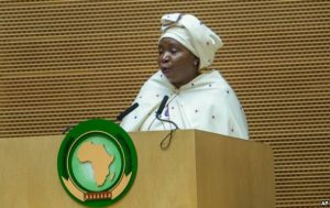 FILE - African Union Commission Chairperson Nkosazana Dlamini Zuma delivers a speech during the opening ceremony of the African Union Summit in Ethiopian capital Addis Ababa, Jan. 30, 2016.