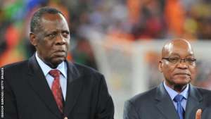 Caf President Issa Hayatou with the President of South Africa, Jacob Zuma