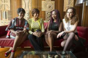 Four businesswomen at the AFRICA CEO FORUM. From left to right: Tigui Camara, Diane Chenal, Ghislaine Ketcha Tessa, Neila Benzina. Credits: Jacques Torregano