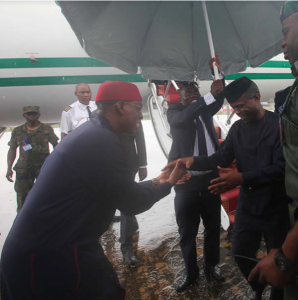 Vice President of Nigeria, Professor Yemi Osinbajo been received by the state governor, Ifeanyi Okowa on a visit to Delta state