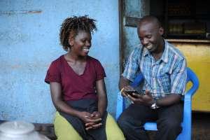 Nakagubo Manjeri(left) participated in the study.Photo Jennifer Huxta ,MasterCard Foundation