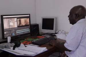 Award-winning director Shemu Joyah at his editing desk. Credit: Lameck Masina.