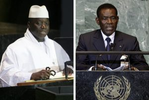 LEFT: Former Gambian president Yahya Jammeh. (John Marshall Mantel/Associated Press) RIGHT: Teodoro Obiang Nguema, president of Equatorial Guinea. (Richard Drew/Associated Press)
