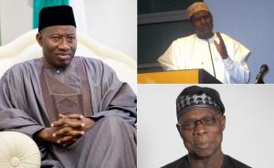 Former presidents Goodluck Jonathan,Umaru Musa Yar'Adua and Olusegun Obasanjo.Pic Allafrica