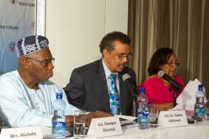 Together we can create a healthier world, and every country has a stake in that vision says Tedros pictured here at the TANA Forum former Nigerian President Olusegun Obasanjo