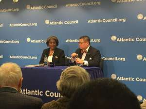 Outgoing Assistant Secretary Linda Thomas Greenfield with Atlantic Council African Director J.Peter Pham