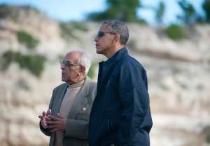 Ahmed Kathrada gave President Obama a tour of Robben Island in 2013