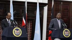 Kenyan President Uhuru Kenyatta speaks during a joint news conference with Somalia President Mohamed Abdullahi Mohamed at State House in Nairobi, Kenya, Thursday, March 23, 2017. Mohamed is on an official State visit to Kenya.(AP Photo/Khalil Senosi)