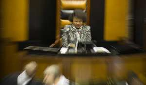Speaker of Parliament Baleka Mbete reacts during a debate in Parliament, Cape Town, South Africa, 05 April 2016. EPA/NIC BOTHMA