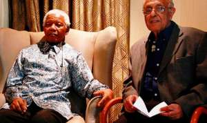 Ahmed Kathrada poses next to his close friend, Mandela