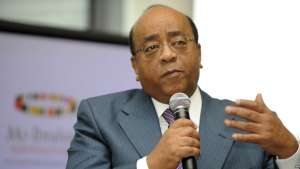 FILE - Mo Ibrahim a speaks to reporters during the announcement of the 2008 recipient of the Ibrahim Prize for Achievement in African Leadership in London, Oct. 20, 2008. The winner was Festus Mogae, former president of Botswana.