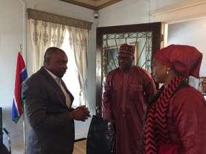 Dr Isatou Touray ,Amb Omar Faye, and PAV's Ajong Mbapndah at the Gambian Embassy