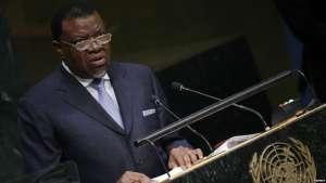 FILE - President Hage Geingob of Namibia speaks at the U.N. Headquarters in New York, Sept. 29, 2015.