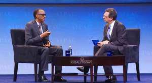 President Paul Kagame (L) conversing with Author Frank Sesno at the AIPAC policy conference in Washington DC.Pic Credit KT Press
