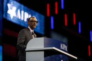 Rwandan president Paul Kagame speaks during the American Israel Public Affairs Committee policy conference in Washington (AFP Photo/Andrew Biraj)