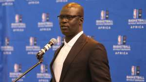 NBA Africa Managing Director Amadou Gallo Fall speaks during the opening press conference of the Basketball Without Boarders program on July 28, 2015 at the American International School of Johannesburg in Johannesburg, South Africa. Joe Murphy/NBAE via Getty Images