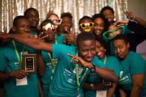 Ghanaian and American team members met for the first time at the competition, held in Washington, D.C. Ryan Eskalis/NPR
