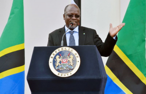 TBC1 ran a fake news item in which US President Donald Trump describes Tanzania's President John Magufuli, pictured in 2016, as an example for other African leaders (AFP Photo/SIMON MAINA)
