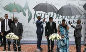 Photo: The New Times President Kagame and First lady Jeannette Kagame, and the African Union Commission Chairperson Moussa Faki Mahamat (L) lay wreaths in honour of the Genocide victims at Kigali Genocide Memorial Centre, Village Urugwiro.