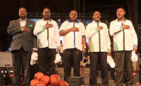 Nasa principals from left: Musalia Mudavadi, Raila Odinga , Isaac Ruto, Kalonzo Musyoka and Moses Wetang'ula at Bomas of Kenya on April 20, 2017.Photo: Jeff Angote/The Nation