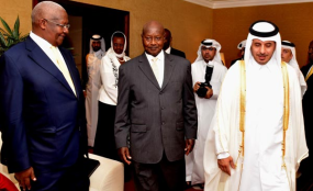 Photo: PPU/Daily Monitor Visiting. President Museveni and the First Lady Janet being received by His Highness Sheikh Tamim bin Hamad Al Thani (right), the Amir of the state of Qatar at his residence (Emir Dewani). Left is Sam Kutesa, the Minister of Foreign Affairs.