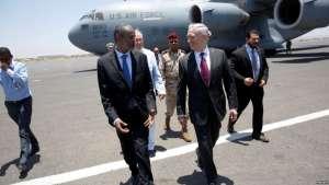 U.S. Defense Secretary Jim Mattis is greeted by Djibouti's Minister of Defense Ali Hasan Bahdon as he arrives at Djibouti-Ambouli International Airport in Ambouli, Djibouti, April 23, 2017.