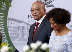 South Africa's President Jacob Zuma arrives with Speaker of Parliament Baleka Mbete in Cape Town, February 11, 2016. REUTERS/Mike Hutchings
