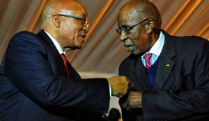 Photo: President Jacob Zuma with Rivonia Trialist Andrew Mlangeni during the 50th anniversary of Liliesleaf Farm gala dinner in Rivonia 11 July 2013. (Photo: GCIS) 3