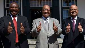 SOUTH AFRICA GOVERNMENT Image caption Cyril Ramaphosa, Jacob Zuma and Pravin Gordhan pictured just last month on budget day