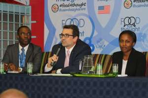 Samantha at  a Food for Thought discussion on trafficking in persons at the US Embassy in Zimbabwe