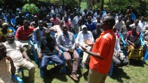 Nyando constituency ODM aspirant Jared Okello addresses his polling agents ahead of the party nominations slotted for Monday. Aspirants have invented a way of thorough protection of votes during nominations to avoid rigging. (Photo: Denish Ochieng/ Standard)