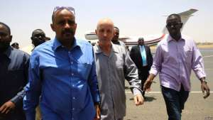 The French citizen (center) who was abducted south of Abeche, arrives at Khartoum airport after his release, in Khartoum, Sudan, May 7, 2017.