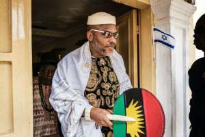 Nnamdi Kanu, head of the Indigenous People of Biafra (IPOB) movement, has not given up on a 50-year-old dream of independence for the region in southeast Nigeria (AFP Photo/MARCO LONGARI)