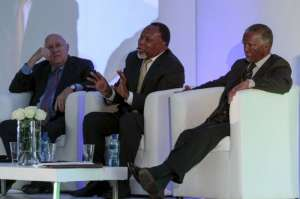 Former South African Presidents; left to right. F.W. de Klerk; Kgalema Motlanthe and Thabo Mbeki in Johannesburg, Friday, May 5, 2017. The three teamed up for the first time to critisize President Jacob Zuma, who faces growing calls to step down after a series of corruption scandals. (AP Photo)